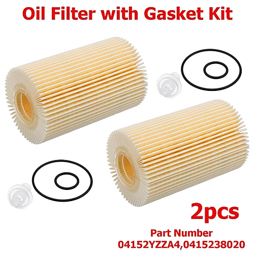 2Pcs Engine Oil Filter with Gasket Kit For Toyota Land Cruiser Sequoia  Tundra