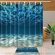 3D Sea Polyester Home Bathroom Decor Fabric Shower Curtain Liner Bath Mat Set# Shower Curtain