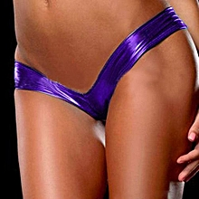 Sexy Lingerie Ladies Night Games Glossy Leather Shorts Underwear Purple