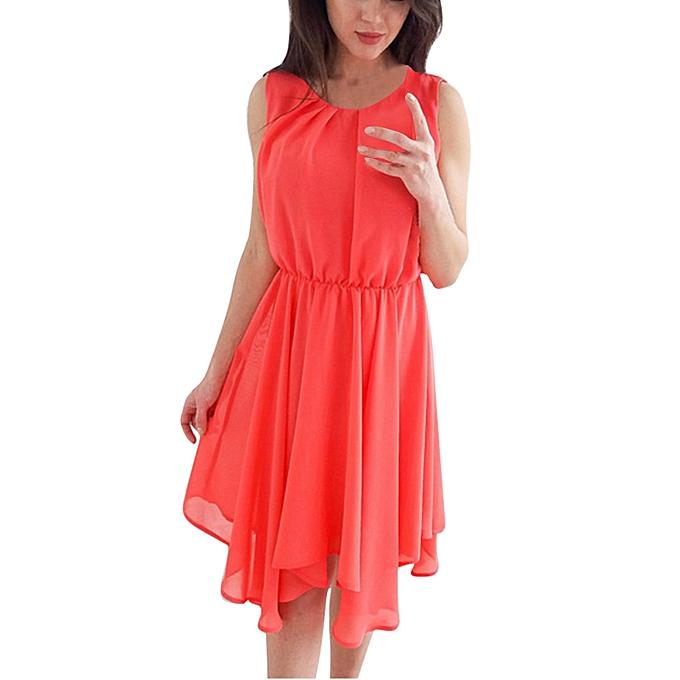 2b3bacddadcb ... Xiuxingzi Women s O-Neck Chiffon Sleeveless Evening Party Casual Loose  Mini Dress ...