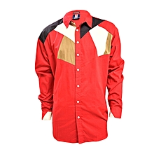 Red Long Sleeved Men's Casual Shirt