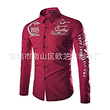Grace Geek New Autumn And Winter Men's Shirt Printing Casual Long Sleeve-winered