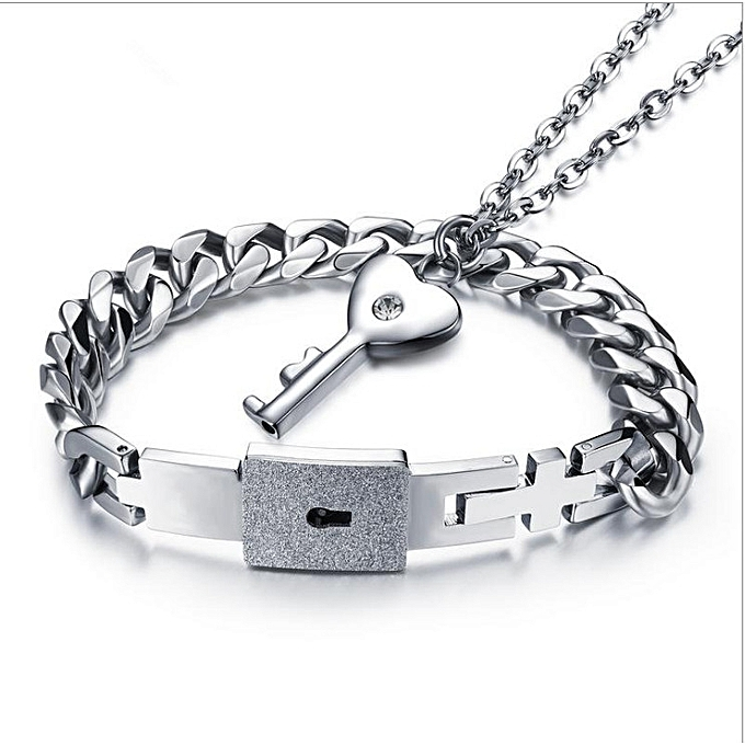 7cd258f38c7a5 Korean fashion wild simple concentric lock couple bracelet a pair of female  necklace male bracelet titanium steel key necklace(Female Necklace Male ...