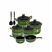 Cooking Pots ,  Non Stick 12 pcs (Green/ and Silver)
