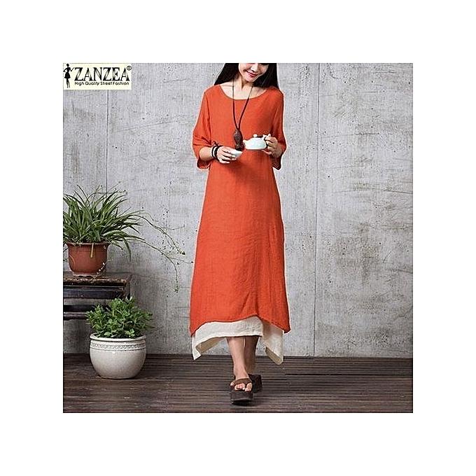 1fb9336825f ZANZEA Women Oversize Linen Muslim Dress Casual Loose Vintage O Neck Elegant  3 4 Sleeve
