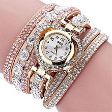 CCQ Women Vintage Rhinestone Crystal Bracelet Dial Analog Quartz Wrist Watch-Gold