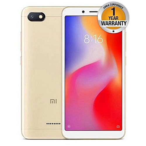Redmi 6A, 4G - 32GB+2GB Ram - Face Identification  5.45 inch - 13 MP Camera Dual SIM (Gold).
