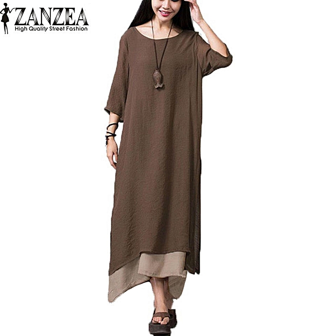298e09c2d000 ZANZEA Women Oversize Linen Muslim Dress Summer Autumn Casual Loose Vintage  O Neck Elegant 3