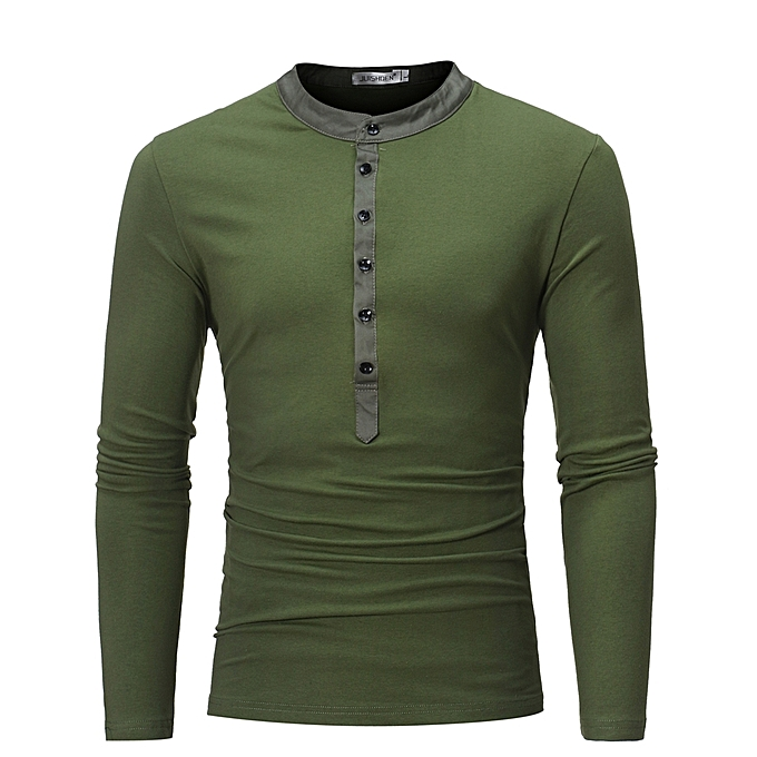 Men s Long Sleeve T-Shirt Unique Color Autumn Winter Date Button Shirts-army  green 4a544db6f