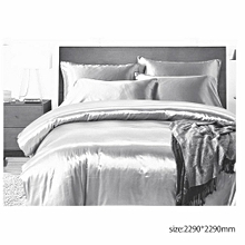3pcs Bedding Set Solid Color Soft Silk Duvet Cover Pillowcase Bed Supplies gray Queen