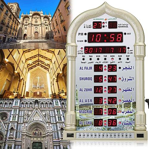 12V Mosque Azan Calendar Prayer Wall Clock Alarm Ramadan Home Decor +  Remote Control( )