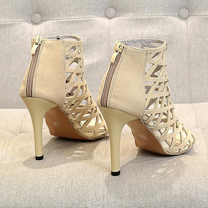 9b54453c79d7 ... Women s Fashion Peep Toe High Heels Shoes Rivet Roman Gladiator Sandals
