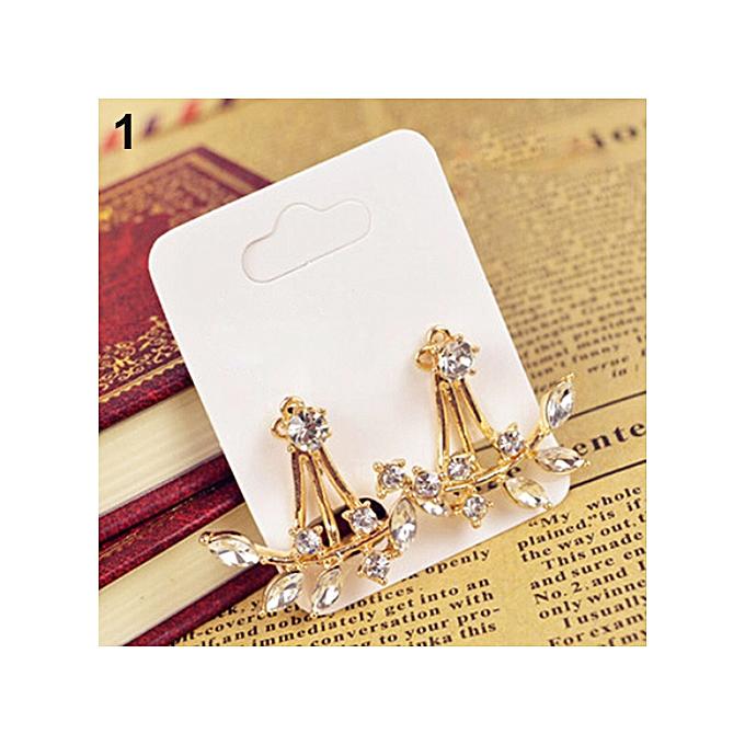 9f16f46f1 Fashion Women's Punk Retro Earring Crystal Leaf Ear Curved Clip Ear Studs -Golden