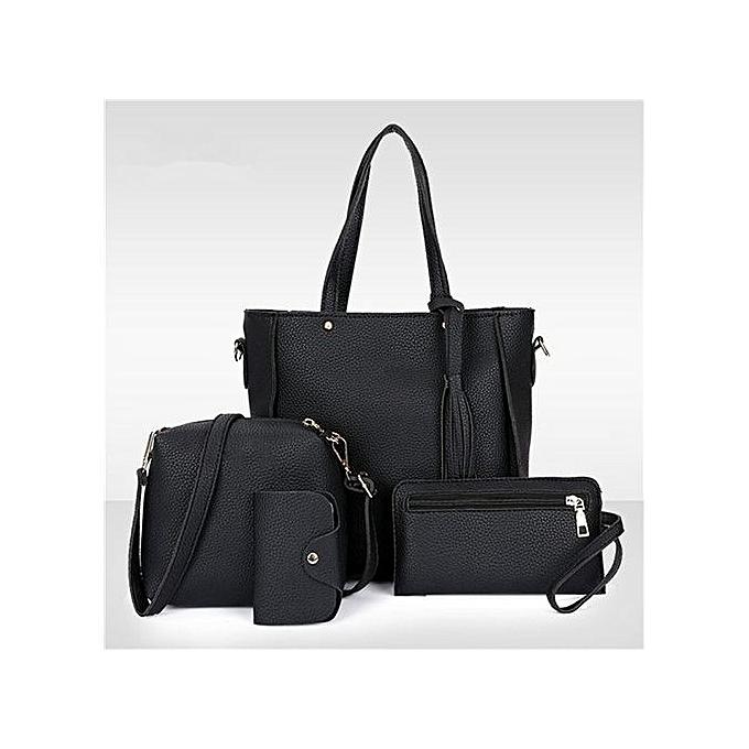 67b55a4a2d6e 4Pcs Set Women Faux Leather Handbag Shoulder Bag Tote Purse Messenger  Clutch - Black.