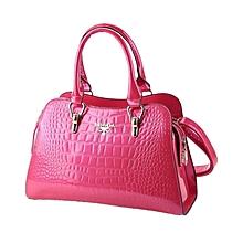 Croco Design Solid Pattern Zipper Tote - Rose Pink