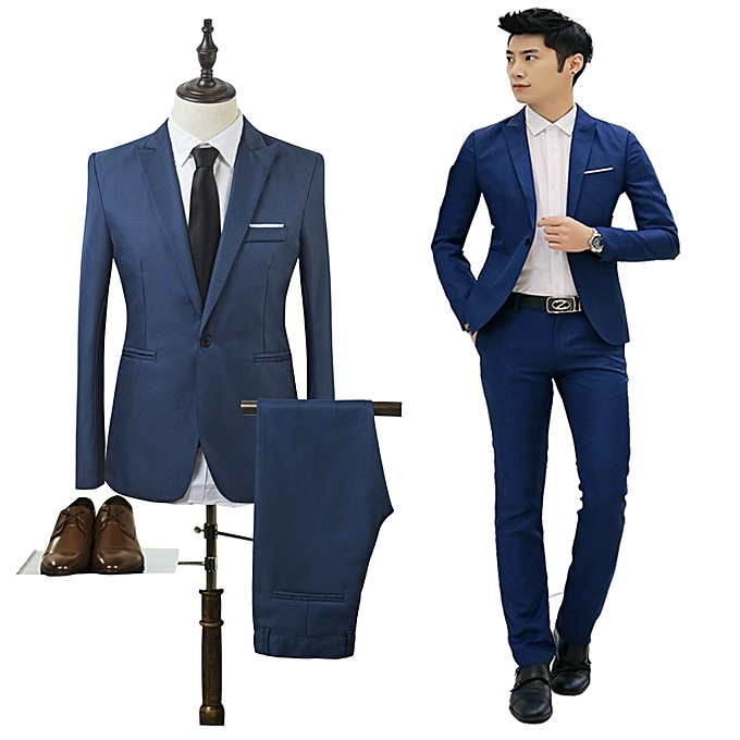 3e4438f716532 New Men Suit Business Jackets Two-piece Suit Office Work Wedding Clothing  Mens Slim Suit Solid Color Male Coat + Trousers (China Size)