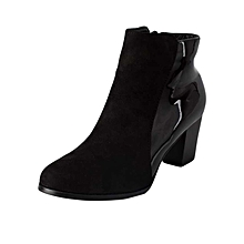 Black Comfortable Ankle Boots With Suede And Patent Leather