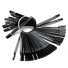 50Pcs Fan Board False Nail Art Tips UV Gel Practice Display Tool Plastic Salon Black Color