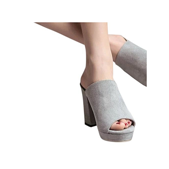 e429073c23c6 ... Bliccol High Heel Shoes Ladies Women Square High Heels Slipper Flip  Flop Sandals Fish Mouth Shoes