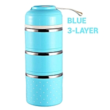 Colorful Thermal Lunch Box Stainless Steel Food Storage Container Cute Mini Japanese Bento Box Leak-Proof Food Case Picnic Box-Blue