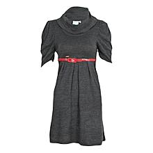 Grey hang neck sweater dress