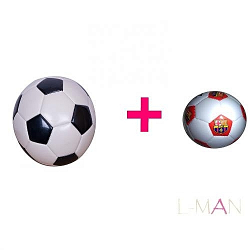 SIZE 5 Soccer Football profession + FREE random colour SIZE 2 Handball profession - Black & White
