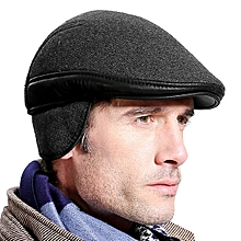 Mens Woolen Warm Ear Flaps Beret Hat Outdoor Fleece Lining Casual Forward Cap