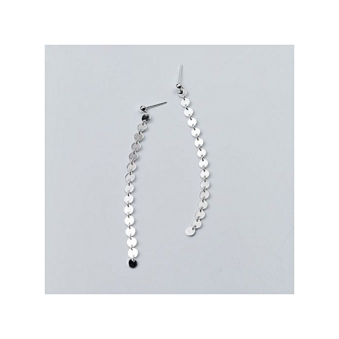 Fashion Round Disc 925 Sterling Silver Long Earrings