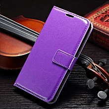 "For Galaxy [A7 2015] Case, Slim Holster Soft Flip Leather Cover With Card Slot Stand Function For 5.5"" Samsung A700, Purple"