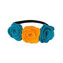 Orange and Turquoise Felt Rose Flower Headband