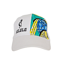 White And Cyan Baseball / Sports Hat With Kelele Color On Panel