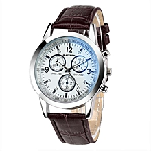 Luxury Fashion Faux Leather Mens Blue Ray Glass Quartz Analog Watches - Brown