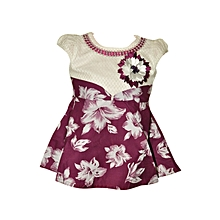 Short sleeves maroon cotton dress with floral pattern