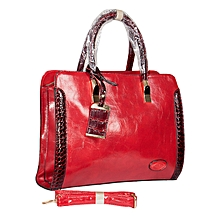 Red Faux Leather Tote Bag