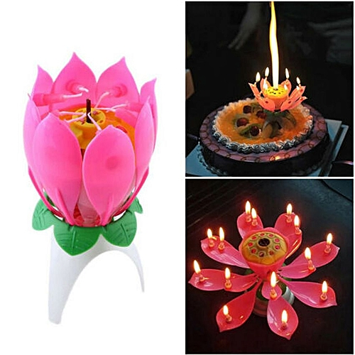 Lotus Shaped Musical Birthday Candle