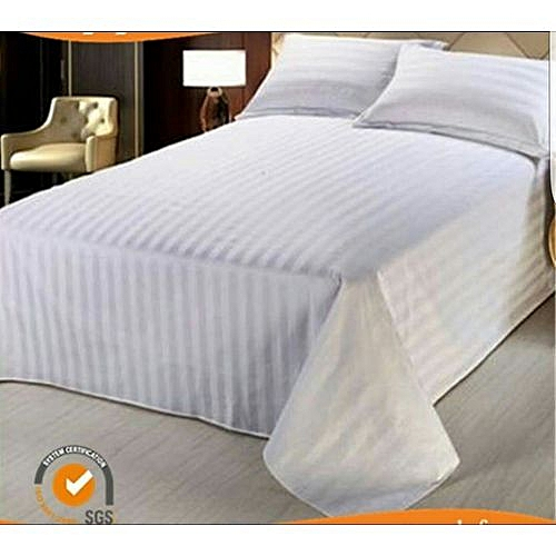 Generic White Striped Bed Sheets Cotton 6x6 1 Bed Sheets And 2
