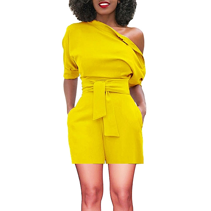 28a783c4cb3 ... jiuhap store Women s Sexy Off Shoulder Ruffle Short Romper Fashion Casual  Jumpsuit -Yellow ...