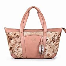 Ladies Kittony Bag -Made In Kenya,100% Genuine Leather - Pink And Brown