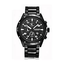 Men's Water Resistant Analog Watch 8021 - Black Dial