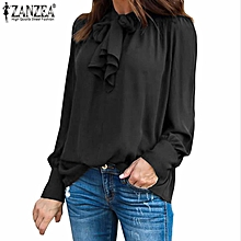 98b293f4102db ZANZEA Women Casual Long Sleeve Chiffon Top Shirt Tunic Plus Size Blouse