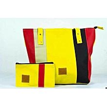 2 in 1 Ladies Faux Leather  Shoulder Bag + Pouch- Multicolor