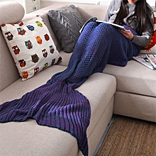 Yarn Knitted Mermaid Tail Blanket Handmade Crochet Throw Super Soft Sofa Bed Mat Sleeping Bag 190*80cm
