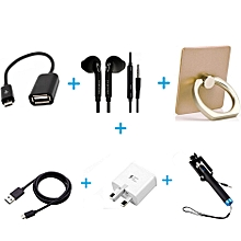 Accessory Pack - OTG Cable + Free Earphone, Holder, Charger, Selfie Stick Cable