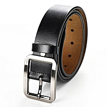 3.7 * 120cm Men Pin Buckle Simple All-match Leather Belt Commercial & Leisure Cowhide Waistband For Adults Color:A Black