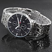 Blicool Wrist Watch North Calendar Quartz Wrist Watch Stainless Steel Bracelet Men Watch-black