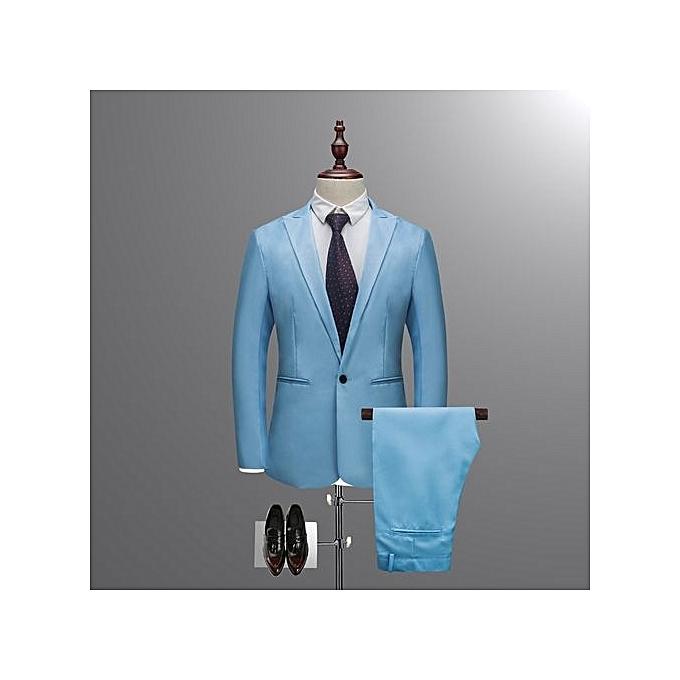Buy Generic Fashion Mens Business Suit Slim Solid Color Suit Mens