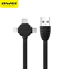 CL-82 3 in 1 Charging Cable Lightning Type-C Micro USB Quick Charge Cable Transfer Data Cord Data Sync for iPhone X 8 7 Samsung Galaxy Android Samsung Nokia Sony Huawei