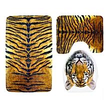 Honana BX-255 Bathroom3 Piece Anti-slip Toilet Seat Tiger Leopard Stripes Carpet  Stool Mat