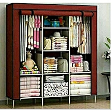 Portable 3-Column Wardrobe -Brown