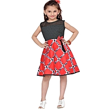 Sleeveless Red cotton dress with black shiny lace bib